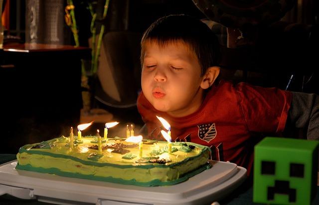 Tort i świeczki na urodzinach dziecka